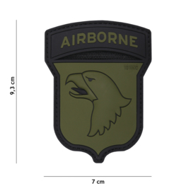 Embleem PVC 3D PVC met klittenband - 101st Airborne Division - zwart/groen - 9,3 x 7 cm.