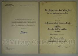 Oorkonde set Reichsbahn 25 jaar trouwe dienst medaille - origineel WO2 Duits