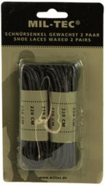 Schoenveters zwart 220 cm - 100% gewaxt katoen - prijs per 2 paar !
