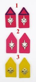 KL Kraagspiegels met roze of gele achtergrond - 1 paar naar keuze - origineel