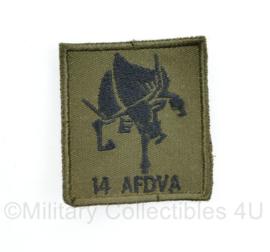 Defensie GVT borst embleem 14 AFDVA 14e afdeling Veldartillerie -  met klittenband - 5 x 5 cm - origineel