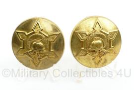 MVO schouder insigne paar gespiegeld - opzichters van Fortificatiën - zeldzaam -  diameter 5 cm - origineel