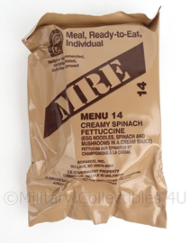 US Army MRE los rantsoen - Meal Ready to Eat  - Menu 14 Creamy Spinach Fettuccine - in houdbaar tot 6-2020