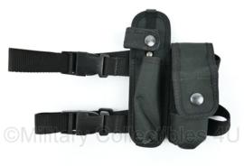 Britse Politie Zwarte Leg Pouch met 2 vakken en double strap - merk Sitos Equipment - origineel