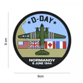 D-Day C-47 embleem 3D PVC - met klittenband - 9 cm diameter