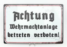Metalen plaat Achtung Wehrmachtanlage betreten verboten!  - 30 x 20 cm.
