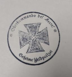 Duitse WO2 stempel (met moderne houder) Oberkommando des Heeres met Duits Kruis