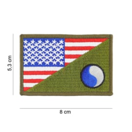 Embleem stof US 29th Infantry Division Yin-Yang small with American flag and GREEN - 8 x 5,3 cm.