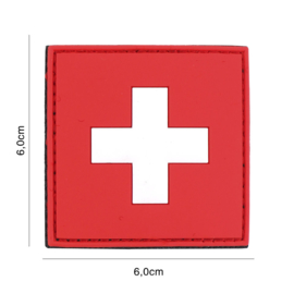 Uniform landsvlag Zwitserland  Embleem 3D PVC PVC  - 6 x 6 cm.