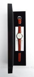 Ministerie van Financien horloge in geschenkdoos - bruin bandje - klein horloge - merk Olympic - origineel