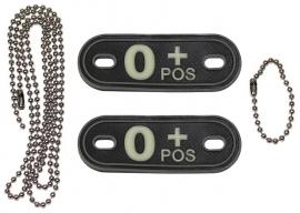 Dogtag ketting met 2 bloedgroep hangers 3D PVC - zwart - bloedgroep O POS