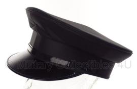 Politie platte pet - zonder insigne  -  Zwart glad wol, Zwarte voering - maat 57- origineel