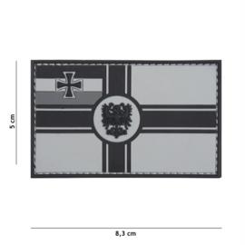 Embleem 3D PVC met klittenband - Duitse Empire vlag - grijs - 8,3 x 5 cm.