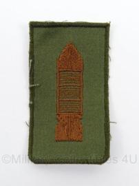 KL Landmacht Scherpschutter brevet brons - stof brons op groen - afmeting 4 x 7,5 cm - origineel