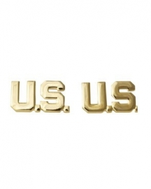 "US officer collar insignia ""US"" Goud - 1 PAAR"