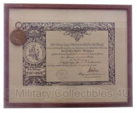 Medaille 1897 en origineel ingelijste oorkonde -Die Kaiser-Wilhelm-Erinnerungsmedaille  - origineel 1897