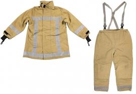 Brandweerkleding zandkleurig - jas en broek set - ook voor groepen - origineel