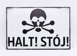 HALT! STOJ  - 30 x 20 cm - nieuw gemaakte metalen plaat