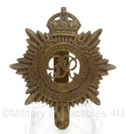 WO2 Britse baret insigne Royal Army Service Corps- afmeting 4 x 5,5 cm - origineel