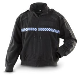Britse politie POLICE fleece jack zwart & geblokt - met schouderstukken - origineel