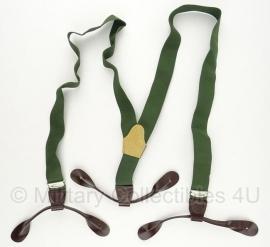 Bretels - Groen met bruine kunstlederen uiteindes - origineel