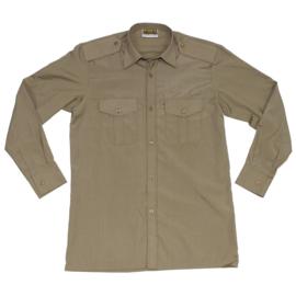 Ongebruikt leger Overhemd bruin / khaki - lange mouwen - maat 36 tm. 39 - origineel