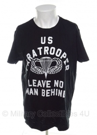 T shirt US Paratrooper Leave no man Behind - maat Small - zwart