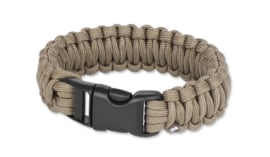 Paracord armband Coyote - 23 mm breed - maat S, M of L