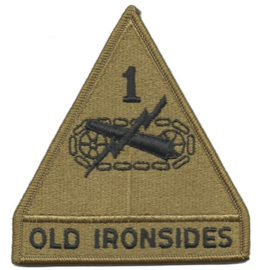 1st armored Division patch OD  green - Old Ironsides- origineel