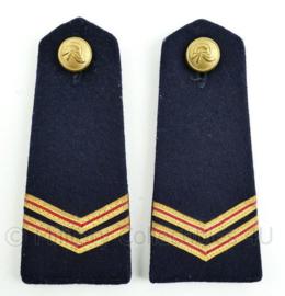 Nederlandse Brandweer epauletten donkerblauw wollig met knoop - rang brandwacht - paar - origineel