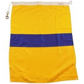 US signaalvlag geel / blauw - 95 x 70 cm. origineel