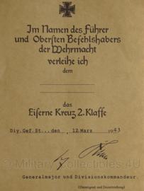 Oorkonde WO2 Duits Ijzeren Kruis 2e klasse - replica