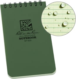 Notitieblok  Rite in the Rain All-weather Notebook Notitieboek No. 946, green (2020) - waterproof extra kwaliteit (ook schrijven in de regen) - 16 x 10 cm.