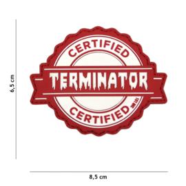 Embleem 3D PVC PVC met klittenband - Cerified Terminator - rood - 8,5 x 6,5 cm.