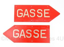 """Duitse leger """"GASSE"""" Gasgevaar bord - metaal - 40 x15 cm - origineel"""