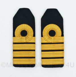 Koninklijke Marine Vintage Officiers epauletten PAAR - Kapitein ter zee - 13 x 5 cm - origineel