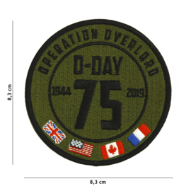 Embleem stof D Day Operation Overlord 1944-2019 75 Years - 8,3 cm. diameter