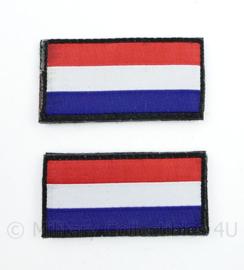 KL Nederlandse leger landsvlaggen Armvlaggen PAAR met klittenband voor uniformen - Breed model - 6 x 3 cm