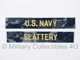 US Navy NWU 1 branch tape/naamlint SET blue/ gold- serie The last ship 'Slattery' - nieuw gemaakt