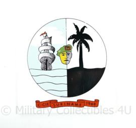 C Cie Suriname 1968 porselein wandbord - afmeting 15 x 15 x 0,4 cm - origineel