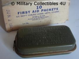 US Carlisle first aid packet - green metal cover - origineel WO2