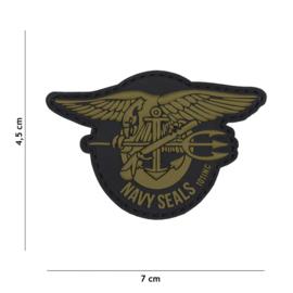 "Embleem PVC 3D PVC  met klittenband - ""Navy Seals"" Groen / Zwart  - 7 x 4,5 cm."