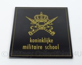 KL Landmacht KMS Koninklijke Militaire School wandbord - afmeting 15 x 15 cm - origineel
