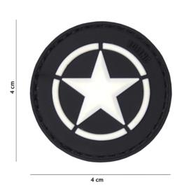 Embleem 3D PVC - met klittenband - US Invasion Star - Zwarte achtergrond - 4 cm. diameter