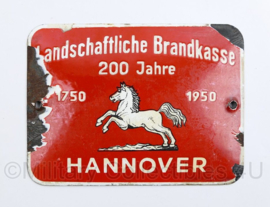 Duits emaille wandbord  1750-1950 Landschaftliche Brandkasse 200 Jahre Hannover  - 12,5 x 17 cm -  origineel
