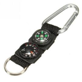 Outdoor multifunctionele karabijnhaak - 3 in 1 (haak, kompas en thermometer) - 12,5 x 3,1 x 1,4 cm