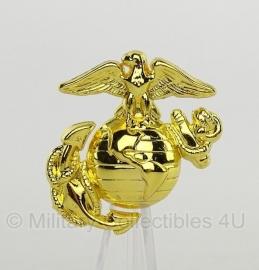 US marines USMC cap badge groot - Goud - met originele verpakking! - 4 x 4 cm.