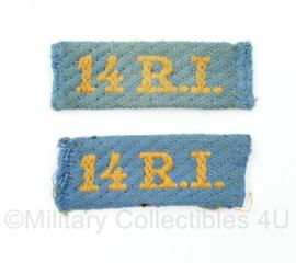 MVO straatnaam paar 14 R.I 14e Regiment infanterie - 6 x 2,5 cm - origineel