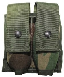 US Army WOODLAND  40mm HIGH EXPLOSIVE DOUBLE POUCH MOLLE II tas -  origineel