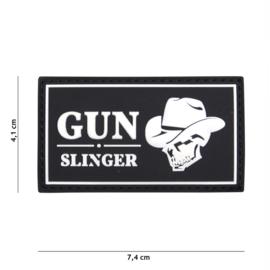Embleem 3D PVC Gun Slinger - zwart / wit - met klittenband - 7,4 x 4,1 cm